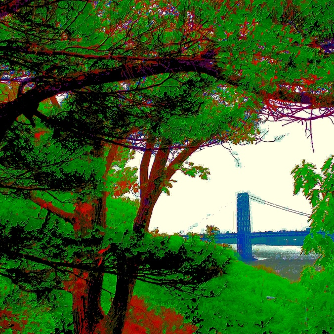 George Washington Bridge.  From Ft. Tryon Park. June, 2014