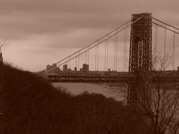 George Washington Bridge. From Ft. Tryon Park. March, 1999