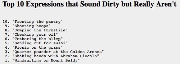 Letterman Top Ten List from February 3, 1986