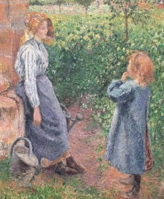 "detail, ""Woman and Child at the Well"" by Camille Pissaro"