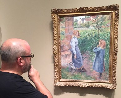 You can tell this is Pissaro by the agricultural themes and the text panel next to it.