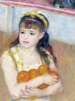 "detail, ""Acrobats at the Cirque Fernado"" by Renoir"