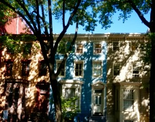 Dappled townhouses.